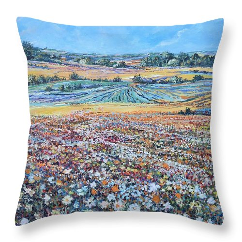 Flower Throw Pillow featuring the painting Flower Field by Sinisa Saratlic