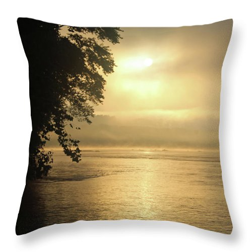 Nature Throw Pillow featuring the photograph Foggy River Sunrise by Holly Morris