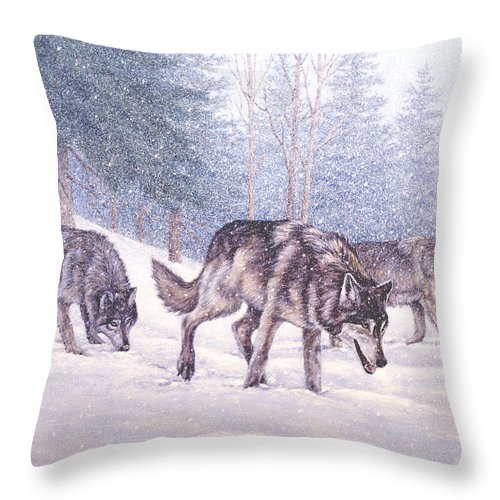 Winter Throw Pillow featuring the painting Following the Scent by Richard De Wolfe
