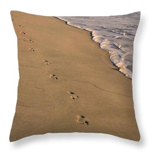 Ocean Throw Pillow featuring the photograph Footprints Left Behind by Suzanne Gaff