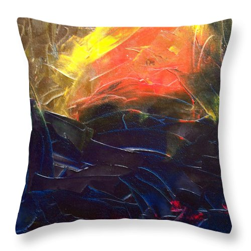 Duck Throw Pillow featuring the painting Forest .Part1 by Sergey Bezhinets