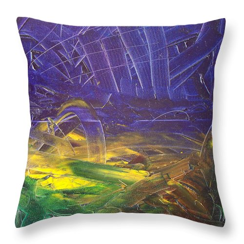 Painting Throw Pillow featuring the painting Forest. Part2 by Sergey Bezhinets