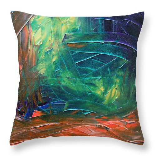 Painting Throw Pillow featuring the painting Forest.Part3 by Sergey Bezhinets