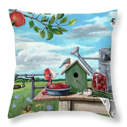 Landscape Throw Pillow featuring the painting Forever Summer by Linda Apple