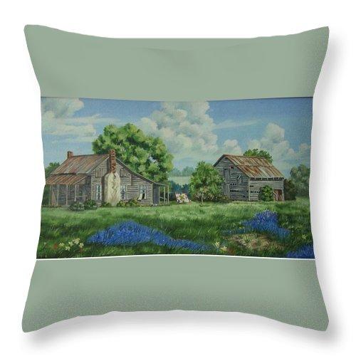 Landscape Throw Pillow featuring the painting Forgotten Memories by Wanda Dansereau