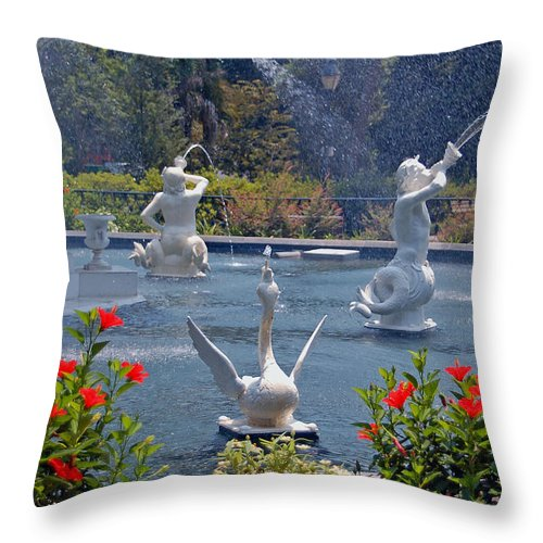 Forsyth Fountain Throw Pillow featuring the photograph Forsyth Fountain Detail In Savannah Ga by Suzanne Gaff