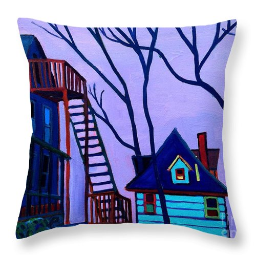 Landscape Throw Pillow featuring the painting Foster Street by Debra Bretton Robinson