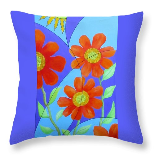 Fractal Throw Pillow featuring the painting Fractal Floral Summer by Carol Sabo