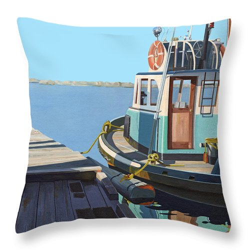 Tug Throw Pillow featuring the painting Fraser River tug by Gary Giacomelli