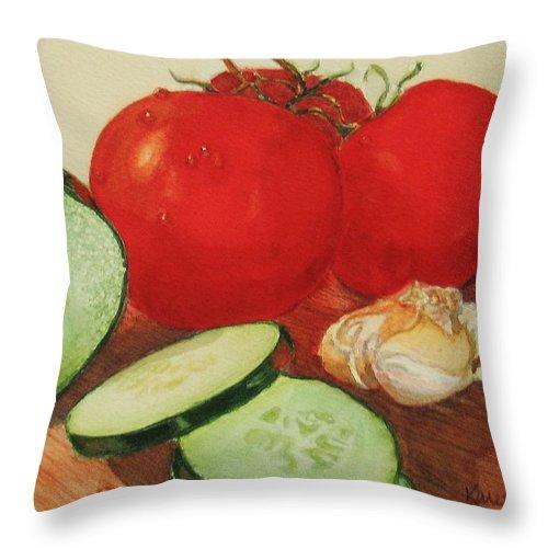 Still Life Throw Pillow featuring the painting Fresh Veggies by Karen Ilari