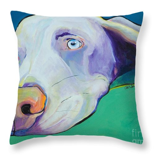 Pat Saunders-white Throw Pillow featuring the painting Fritz by Pat Saunders-White