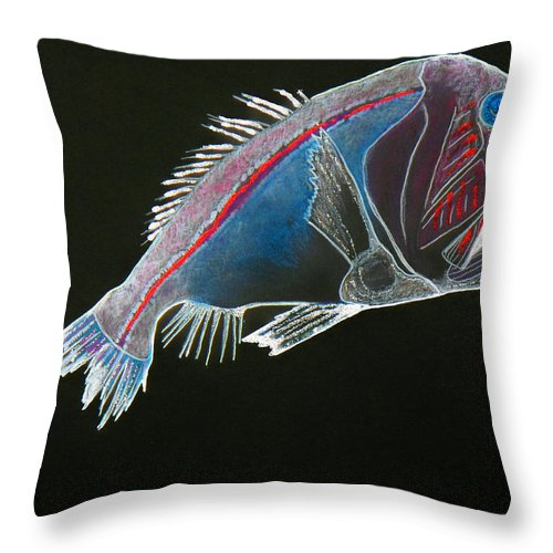 Fossil Throw Pillow featuring the drawing From The Abyss by Sergey Bezhinets