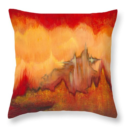 Red Throw Pillow featuring the painting From the Valley by Shadia Derbyshire