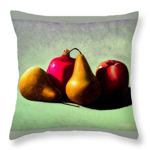 Still Life Throw Pillow featuring the painting Fruit Harvest by Frank Wilson