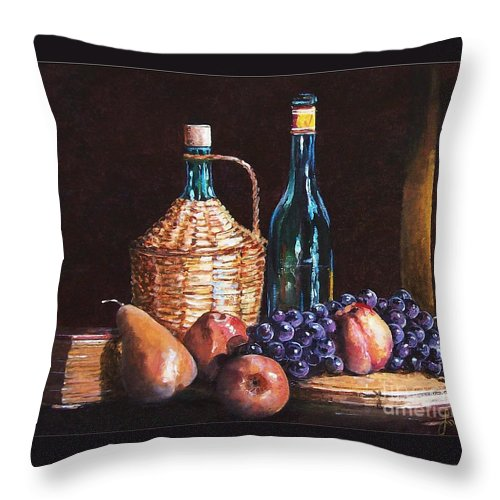 Still Life Throw Pillow featuring the painting Fruits by Sinisa Saratlic