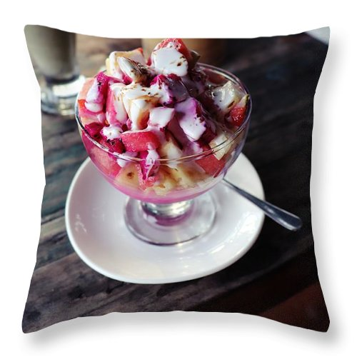 Fruit Throw Pillow featuring the digital art Fruity dessert with white cream by Worldvibes1