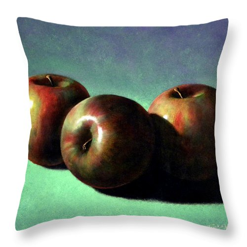 Still Life Throw Pillow featuring the painting Fuji Apples by Frank Wilson
