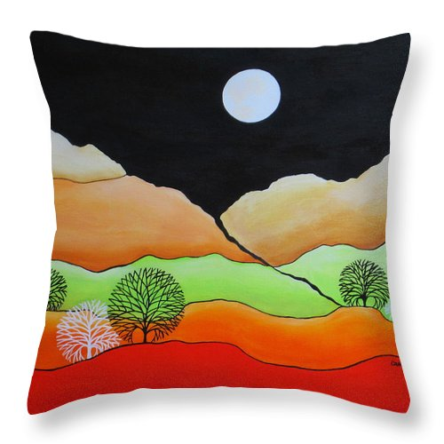 Full Moon Throw Pillow featuring the painting Full Moon by Carol Sabo