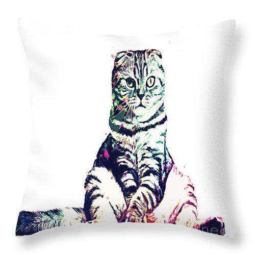 Cat Throw Pillow featuring the digital art Funky Cat by Trindira A