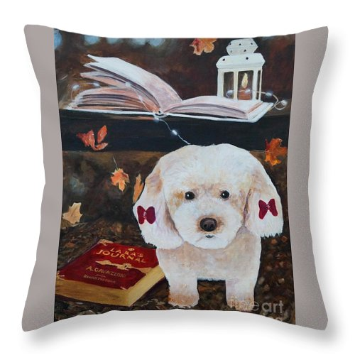 Poodle Throw Pillow featuring the painting Gaia- The Muse by Frankie Picasso