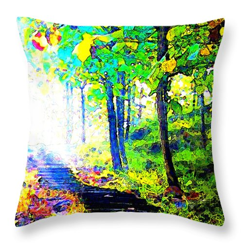Landscape Throw Pillow featuring the digital art Garden Stairway Abstract by Linda Mears