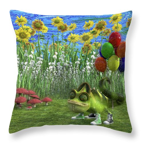 Chameleon Throw Pillow featuring the digital art Gecko Chameleon With Balloons by Betsy Knapp
