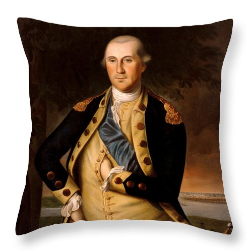 George Washington Throw Pillow featuring the painting General George Washington by War Is Hell Store