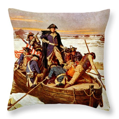 George Washington Throw Pillow featuring the painting General Washington Crossing The Delaware River by War Is Hell Store
