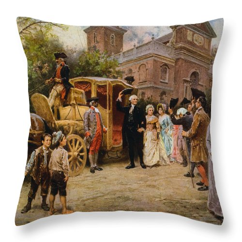George Washington Throw Pillow featuring the painting George Washington arriving at Christ Church by War Is Hell Store
