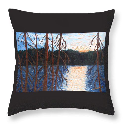 Setting Sun Throw Pillow featuring the painting Georgian Bay Ghosts by Ian MacDonald