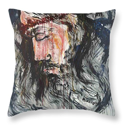 Jesus Throw Pillow featuring the painting Gethsemane to Golgotha by Nadine Rippelmeyer