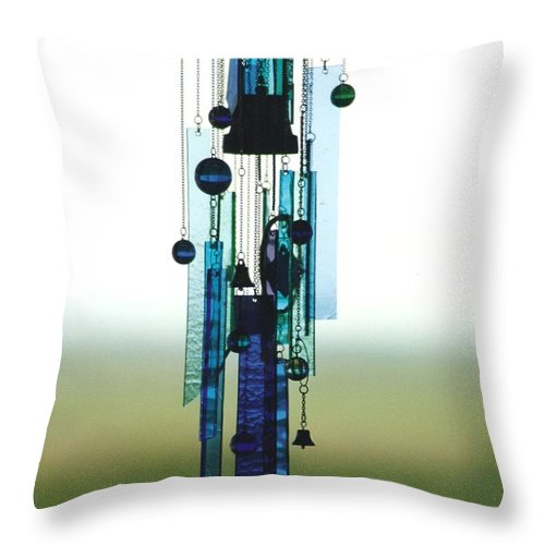 Glass Throw Pillow featuring the glass art Glass Art Interior Mobile or Sun Catcher by Jackie Mueller-Jones