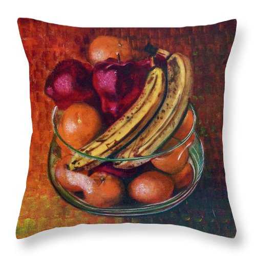 Oil Painting On Canvas Throw Pillow featuring the painting Glass Bowl Of Fruit by Sean Connolly