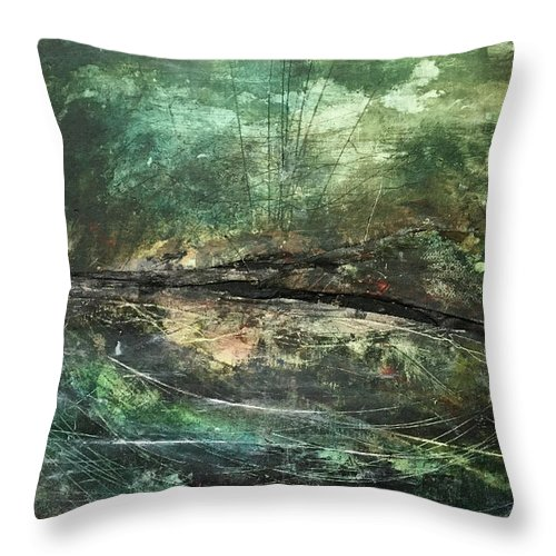 Abstract Art Throw Pillow featuring the painting Gnawn by Rodney Frederickson