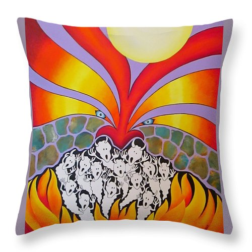 God Throw Pillow featuring the painting God's Wrath Devours Evil by Carol Sabo