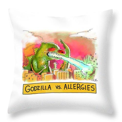 Godzilla vs Allergies Throw Pillow