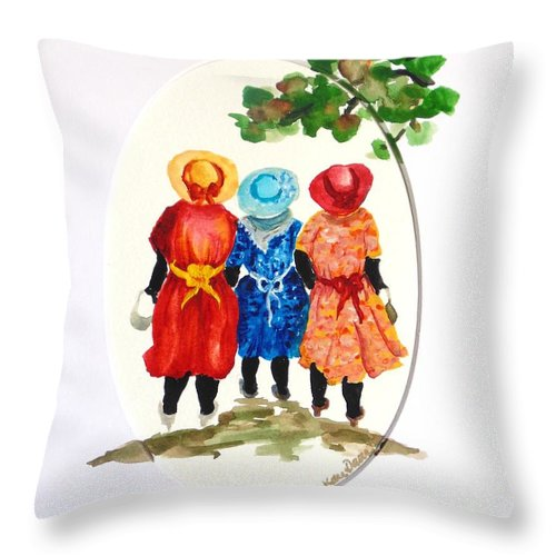 Three Women Caribbean Throw Pillow featuring the painting Going to church by Karin Dawn Kelshall- Best
