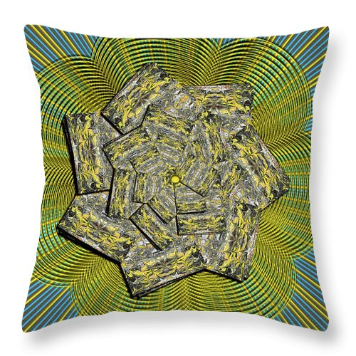 Abstract Throw Pillow featuring the digital art Golden Flower by Jack Entropy