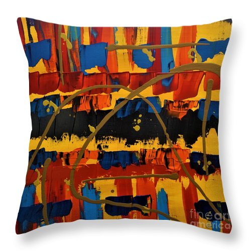 Abstract Throw Pillow featuring the painting Golden Hour by Jimmy Clark