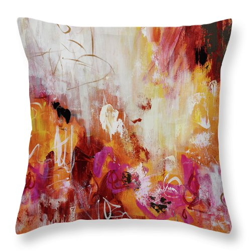 Acrylic Throw Pillow featuring the painting Golden Overture by Lynda Goldman