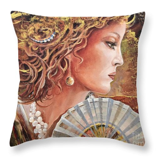 Female Portrait Throw Pillow featuring the painting Golden Wood by Sinisa Saratlic