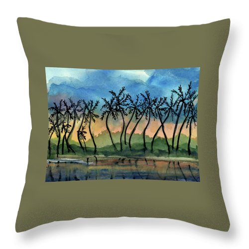 Evening Throw Pillow featuring the painting Good Night Hawaii Two by Randy Sprout