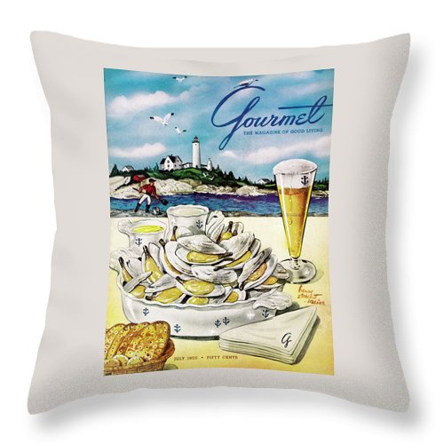 Gourmet Cover of Clams and Beer Throw Pillow