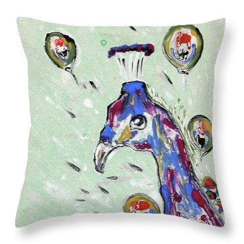 Monotype Throw Pillow featuring the mixed media Grand Splendor by Cori Solomon
