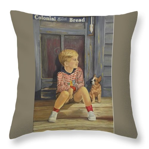 A Young Boy And His Dog Throw Pillow featuring the painting Grandpas Country Store by Wanda Dansereau