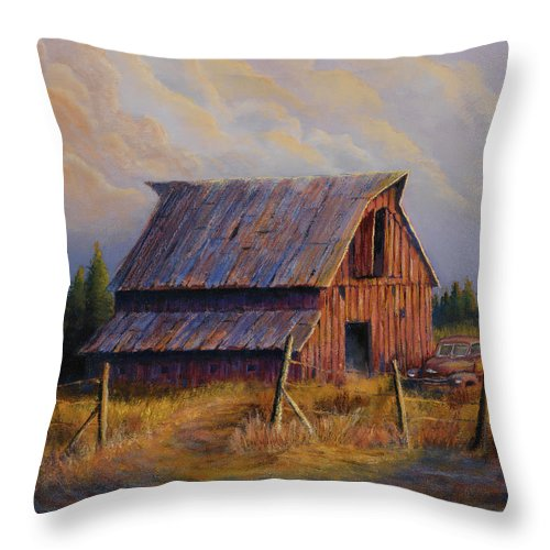 Barn Throw Pillow featuring the painting Grandpas Truck by Jerry McElroy
