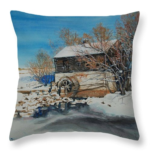 Mill Throw Pillow featuring the painting Grants Old Mill by Susan Moore