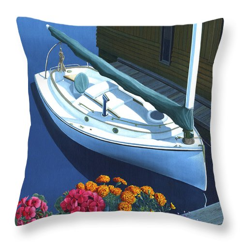 Seascape Throw Pillow featuring the painting Granville Island Catboat by Gary Giacomelli