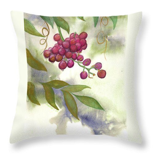 Rick Huotari Throw Pillow featuring the painting Grapes Divine by Rick Huotari