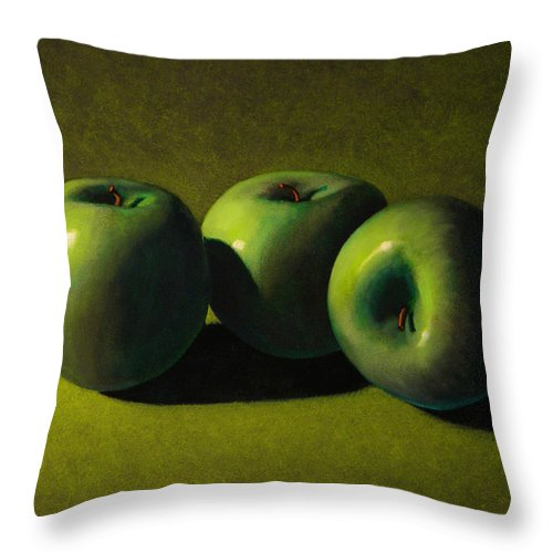 Still Life Throw Pillow featuring the painting Green Apples by Frank Wilson